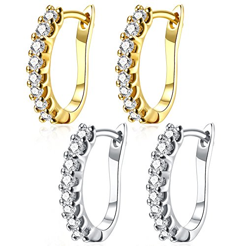Gold Crystal Earring Yellow Plated (16MM Small Huggie Hoop Earrings,14K Yellow Gold/White Gold Plated Small Inlay CZ Cubic Zirconia Hypoallergenic Stud Hoops For Women Teen Girls Sensitive Ears(Pack of 2 Colors))