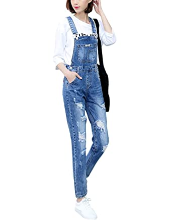 666a24cd0c2b Women s Classic Bib Overalls Denim Blue Strap Ripped Hole Denim Jeans (S