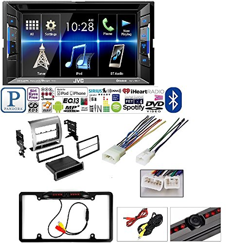 JVC Double DIN Bluetooth in-Dash DVD/CD/AM/FM Car Stereo with Toyota Tacoma Silver Dash 2005-20011 AFTEMARKET Single DIN CAR Stereo Install KIT Dash MOUNTING KIT + Stereo Harness + Rear View Camera
