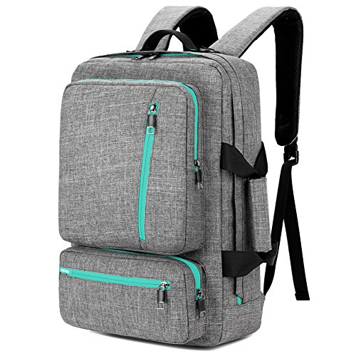 SOCKO 17 Inch Laptop Backpack Convertible Backpack Travel Computer Bag Hiking Knapsack Rucksack College Shoulder Back Pack Fits up to 17 Inches Laptop Notebook for Men/Women, Grey-Green (Computer Backpack Convertible)