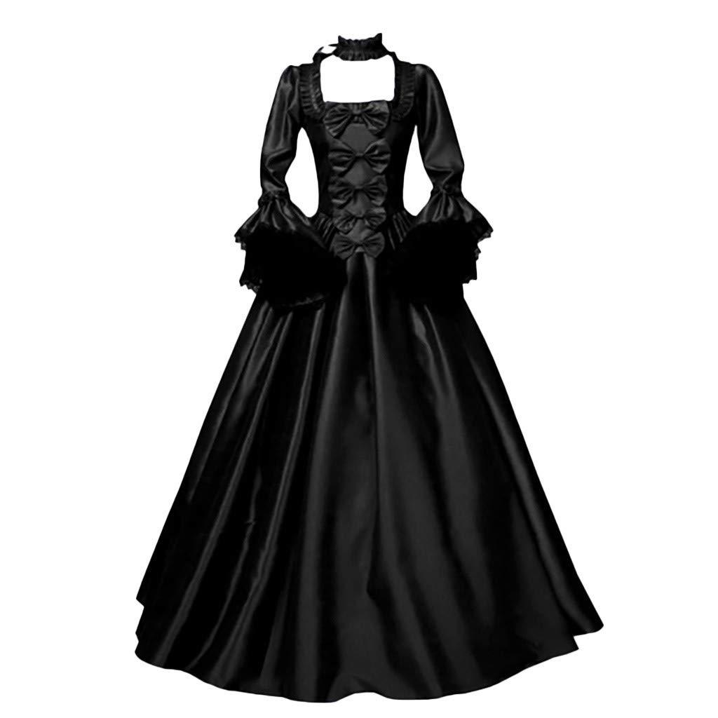Damen Mittelalterkleid Gothic Schn/ürung Langarm Kleider mit Trompeten/ärmel Viktorianischen K/önigin Kost/üme Vintage Renaissance Medieval Princess Dress Erwachsene Cosplay