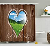 Best Wooden Hearts love Friend Items For Girls - Ambesonne Outhouse Shower Curtain, Heart Window View from Review