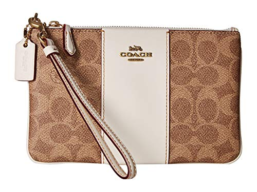COACH Women's Color Block Coated Canvas Signature Small Wristlet Tan/Chalk/Brass One Size