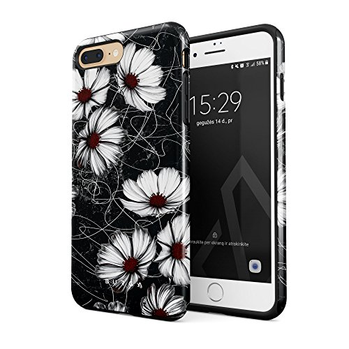BURGA Compatible with iPhone 7 Plus iPhone 8 Plus Case Senseless Cosmos Dark Black Floral Pattern for Girls Heavy Duty Shockproof Dual Layer Hard Shell + Silicone Protective Cover