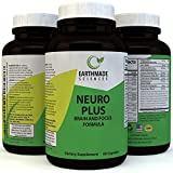 Neuro Plus Brain and Focus Supplement – Cognitive Enhancement Pills Boost Memory Concentrations and Balance Mood – Natural Nootropic Anti Aging Formula for Mental Performance by Earthmade Sciences