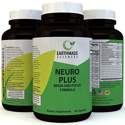 Neuro Plus Brain and Focus Supplement - Cognitive Enhancement Pills Boost Memory Concentrations and Balance Mood - Natural Nootropic Anti Aging Formula for Mental Performance by Earthmade Sciences by Earthmade Sciences