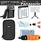 Must Have Accessory Kit For Panasonic Lumix DMC-TS25, DMC-TS20, DMC-TS30 WaterProof Digital Camera Includes Extended Replacement (900maH) DMW-BCK7 Battery + Ac/Dc Charger + Float Strap + Case + More