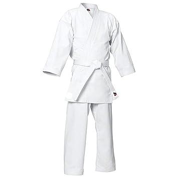 MYmixtrendz. Traje de Karate Blanco para Adultos y niños con cinturón Blanco Gratuito Uniformes de Poli/algodón (pre encogidos) Conjunto de Kimono ...