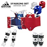[GTE Zone] Adidas TKD WTF Approved TAEKWONDO Sparring Gear Set (Foam H/G, Body, Forearm, Shin & Instep Protector & Free Double Mouth Guard)