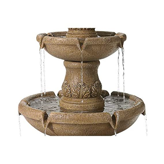"John Timberland Domanico Outdoor Floor Water Fountain 57"" Tan 3-Tiered Floor Cascading for Yard Garden Lawn - Three tier floor fountain design. Tan finish. Lightweight resin construction. - patio, outdoor-decor, fountains - 51WSVzQBkDL. SS570  -"