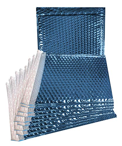 ABC 20 pack Metallic Poly Bubble mailers 6 x 6.25. Blue padded envelopes 6 x 6 1/4. Glamour bubble mailers. CD size. Peel & Self Sealing cushion packaging mailers. Mailing, packing, wrapping.