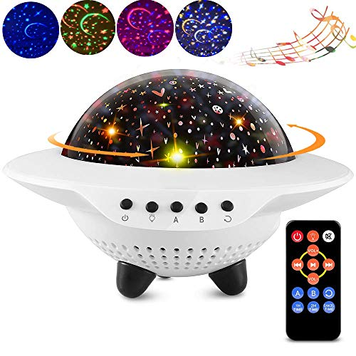 【2019 Upgrade】Kids UFO Starry Sky Star LED Night Light Projector, Bedroom Decor Table Lamp with Bluetooth Speaker,Remote Control,Timer,360°Rotating,Chargeable,Gifts for Children Baby and Adult(UFO)