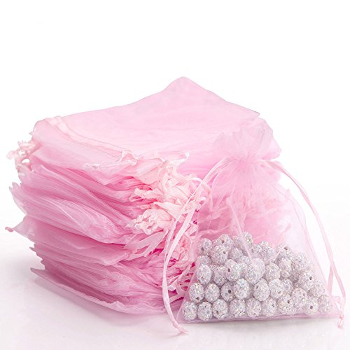 100pcs Sheer Drawstring Organza Gift Bags Jewelry Candy Chocolate Mesh Pouches Wedding Party Bridal Baby Shower Birthday Engagement Christmas Holiday Favor, 4.6 x 3.9 inch [Pink] ()