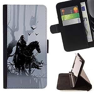 Momo Phone Case / Flip Funda de Cuero Case Cover - Caballero Negro Hípica crowm bosque de cuento de hadas - HTC Desire 626