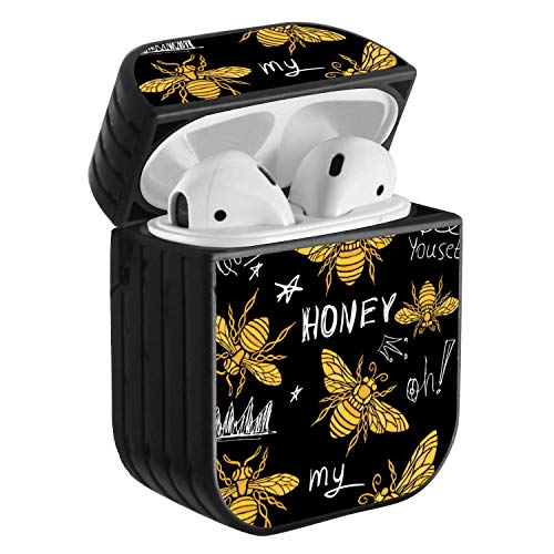Compatible with Airpods 2 & 1, Shockproof Portable Protective Hard Cover Case with Neck Lanyard Strap - Honey bee Golden Pattern Queen Crown Textile