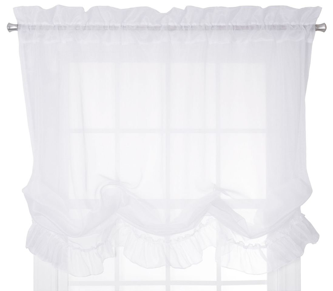 Ellis Curtain Jessica Sheer Tailored Tier Curtains, 54 by 24-Inch, Ivory 015446819109
