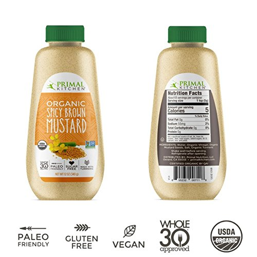 Primal Kitchen - MUSTARD - Organic Spicy Brown - Non GMO - Vegan - Gluten Free - Paleo Friendly - No HFCS or Cane Sugar - Whole 30 Approved (Honey Mustard Vinaigrette)