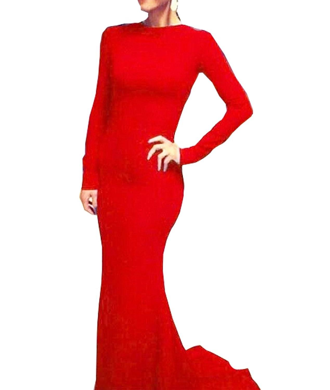 Vakind® Elegant Damen Polyester Langärmlig Figurbetontes Maxi-Kleid ...