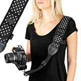 Camera Strap Shoulder Sling with Adjustable Polka Dot Neoprene, Accessory Pocket, Quick Release Buckle by USA Gear - Works with Canon, Fujifilm, Nikon, Sony and More DSLR, Mirrorless Cameras