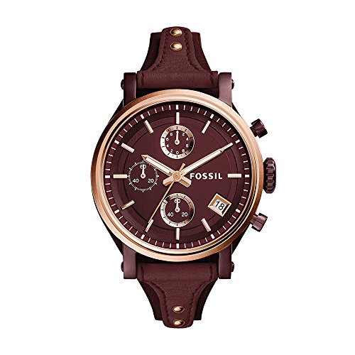 Fossil Women's ES4114 Original Boyfriend Sport Chronograph Wine Leather Watch