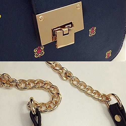 Fanmingsidi - Bolso estilo cartera para mujer azul azul negro