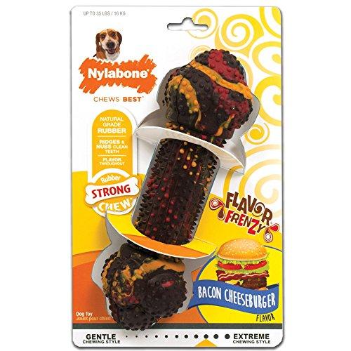 Nylabone Flavor Frenzy Chew Toy for Medium Dogs, Bacon Cheeseburger Dog -