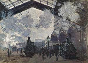high quality polyster Canvas ,the Cheap but High quality Art Decorative Art Decorative Canvas Prints of oil painting 'Saint-Lazare Station, Exterior View, 1877 By Claude Monet', 18x25 inch / 46x64 cm is best for gift for girl friend and boy friend and Home decoration and Gifts