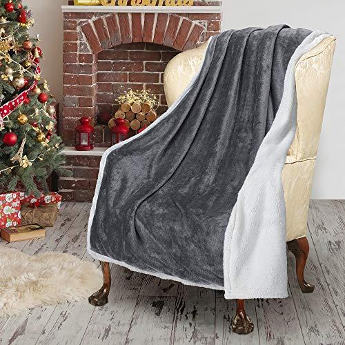 Sherpa/Plush Throw Blanket Grey Throw Size 50