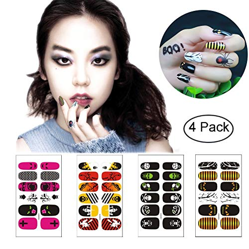 Halloween Nail Art Stickers Wraps Self Adhesive for Women Girls Kids, VIWIEU Holiday Nail Strips Designs 4 Sheets for Fake Nails, DIY Manicure Set Supplies for Costume Party -