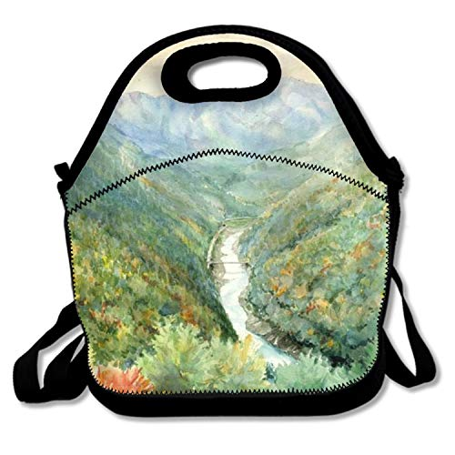 Country Road Landscape Lunch Bags Insulated Travel Picnic Lunchbox Tote Handbag With Shoulder Strap For Women Teens Girls Kids Adults