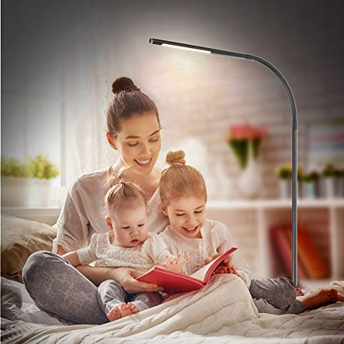 Joly Joy LED Modern Floor Lamps, Flexible Gooseneck Standing Reading Light W/Stable Base, 4 Color & 5 Brightness Dimmer, Touch & Remote Control, for Living Room, Chair, Couch, Office Task (Black) by Joly Joy (Image #5)