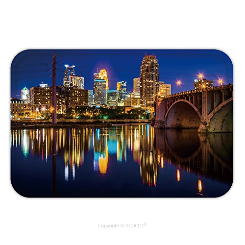 Flannel Microfiber Non-slip Rubber Backing Soft Absorbent Doormat Mat Rug Carpet The Central Avenue Bridge And Skyline Reflecting In The Mississippi River At Night In Minneapolis 282687104 for Indoor/