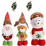 RLucky | Christmas Plush Dolls | Home Ornament Decoration Toys | Santa Clause Snowman Reindeer Doll | Hanging Dolls | Set of 3 Soft Plush Stuffed Toy