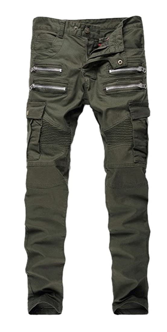 Mens Army Green Biker Moto Slim Fit Skinny Jeans Zipper Details Pencil Pants