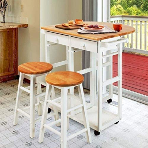 3 PCS Dining Table Set 1 Table and 2 Chairs Stools Home Restaurant Breakfast Bistro Pub Kitchen Folding Rolling Drop Leaf Island Trolley Kitchen Cart 2 Towel Hander Dining Room -