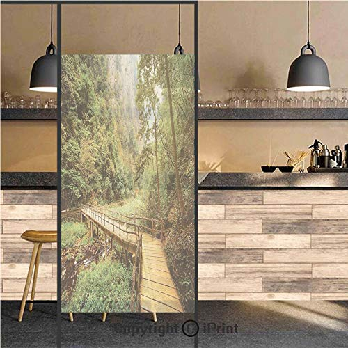 3D Decorative Privacy Window Films,Wooden Bridge Over Mountain River Among Trees and Rocks in the Zhangjiajie Forest Park Decorative,No-Glue Self Static Cling Glass film for Home Bedroom Bathroom Kitc ()