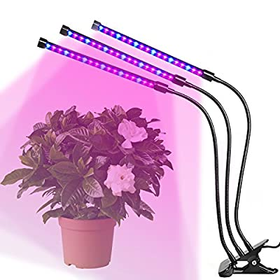 LED Grow Light 5 Mode Dimmable Levels Plant Grow Lamp Bulbs for Indoor Plants with Red/Blue Spectrum, Adjustable 360° Gooseneck, 4/8/12 Hours Timer