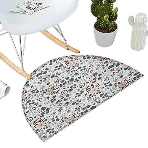 - Floral Semicircular Cushion Flourishing Soft Toned Blooms Artistic Growth Feminine Petal Illustration Entry Door Mat H 35.4