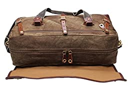 Iblue Traveling Duffels Canvas Carryon Garment Luggage Weekender Gym Tote Bag Large 21 In #213178 (brown)