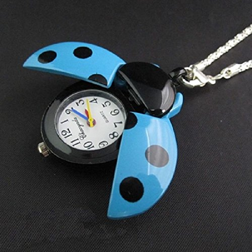 Bug Watch Necklace (Eachbid Smart applied blue New Women Lady Girls Ladybug Beads Wing Open Quartz Chain Necklace Pocket Watch)