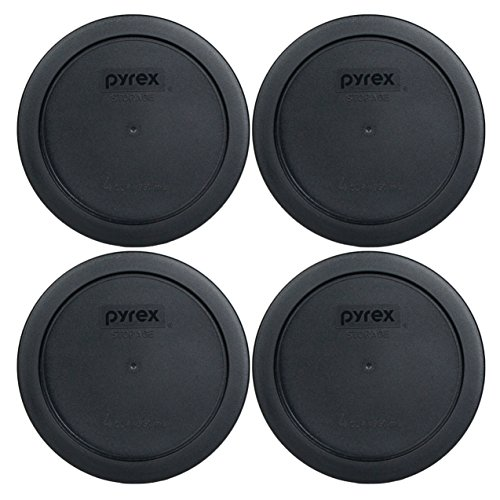 Pyrex 7201-PC 4 Cup Round Storage Cover for Glass Bowls (4, Black) (Black Round Cup)