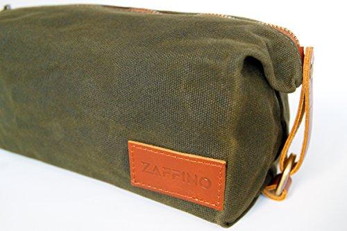 Zaffino Waxed Canvas Genuine Leather Trim Dopp Kit - Unisex Toiletry Bag & Travel Kit by Zaffino (Image #5)