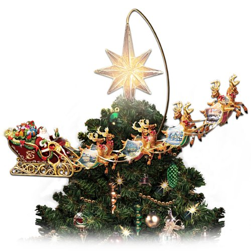 Thomas Kinkade Holidays in Motion Rotating Illuminated Treetopper: Animated Christmas Decor by The Bradford - Thomas Illuminated Tree Kinkade