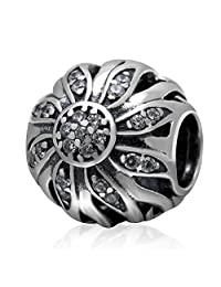 Crystal Sunflower Hollow 925 Sterling Silver Bead Fits European Brand Charms Bracelet