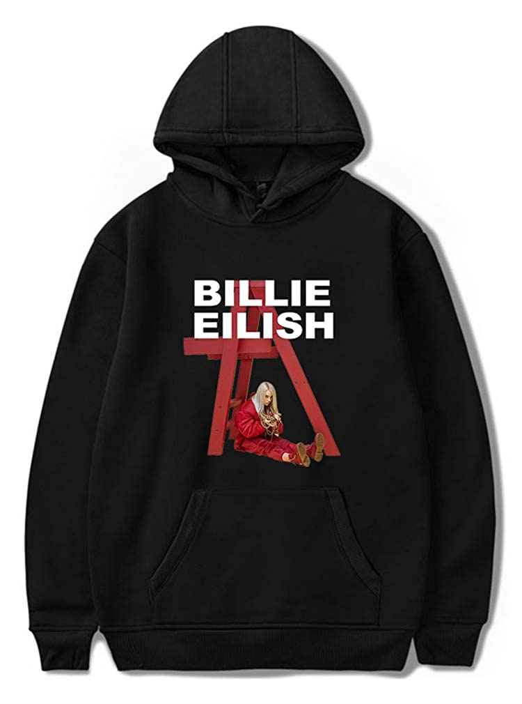 AMOMA Women Pure Color Billie Eilish Casual Hoodie Long Sleeve Hooded Pullover Sweatshirt