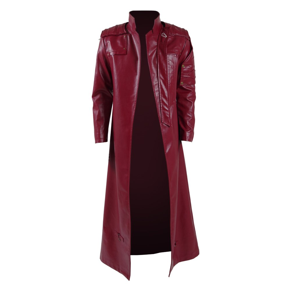 Men's Red PU Leather Trench Coat Cospaly Costume Halloween Outfit Uniform (US Men-L, Red)
