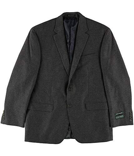 (Ralph Lauren Mens Houndsooth Classic Two Button Blazer Jacket Grey 42)