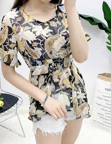 noir grand Xuanku Femmes 039;S De Sortir De L'été Actif Jupe T-Shirt Col Rond Floral,Costumes Manches 1 2