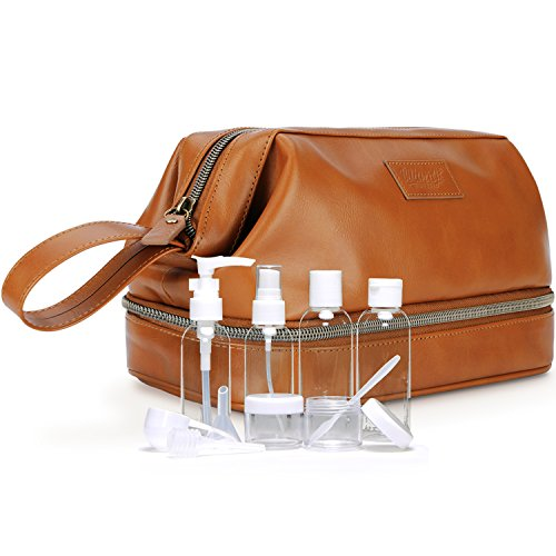 Mens Leather Toiletry Bag Dopp Kit, Perfect Travel Accessory or Gift, Includes BONUS 6 TSA Size Refillable Bottles in Clear Bag Brown