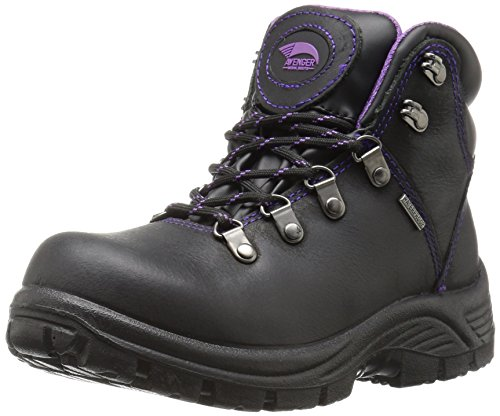 Avenger Safety Footwear Women's Avenger 7124 Waterproof Safety Toe EH SR Hiker Industrial and Construction Shoe, Black, 8 M US